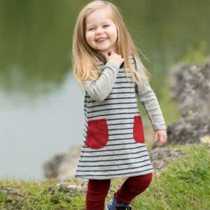 Engel Baby-Kleidchen Wollfrottee hellgrau melange/marine