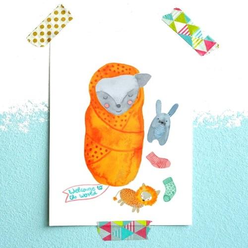 Frau Ottilie Postkarte Welocme to the world | Gut Betucht