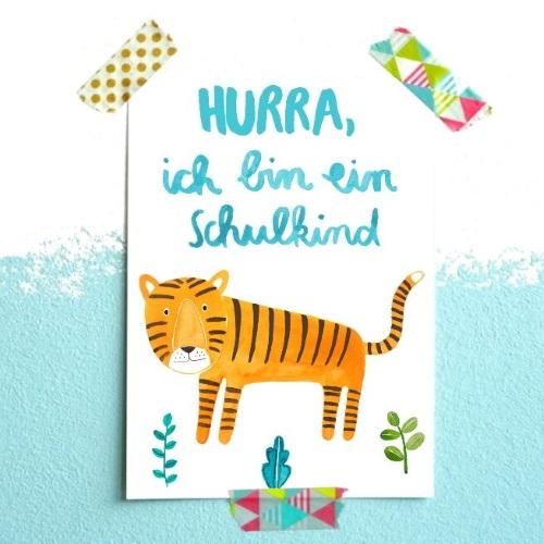 Frau Ottilie Postkarte Hurra, ich bin ein Schulkind