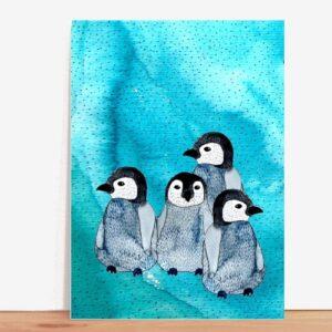 Frau Ottilie Postkarte Pinguine