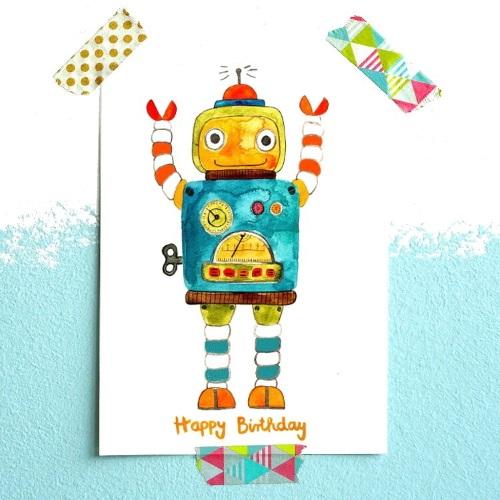 Frau Ottilie Postkarte Roboter Happy Birthday