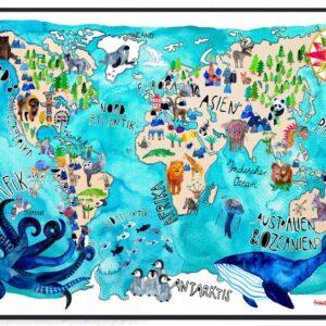 Frau Ottilie – Poster Weltkarte