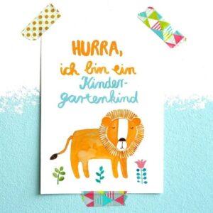 Frau Ottilie Postkarte Hurra, ich bin ein Kindergartenkind