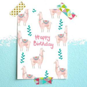 Frau Ottilie Postkarte Lama Happy Birthday